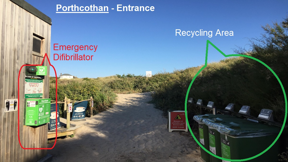 Porthcothan-Entrance-difibrillator-and-recycling